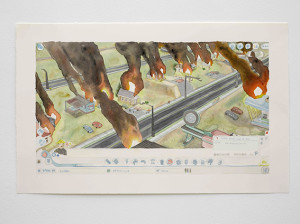 Our Apocalypse (Fire!!!), 2014 - 2015, watercolour on paper, 44 x 70.5cm